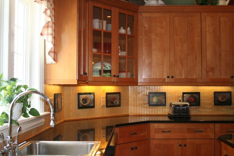 Beadboard Backsplash Dark Cabinets Kitchen Interior Interior