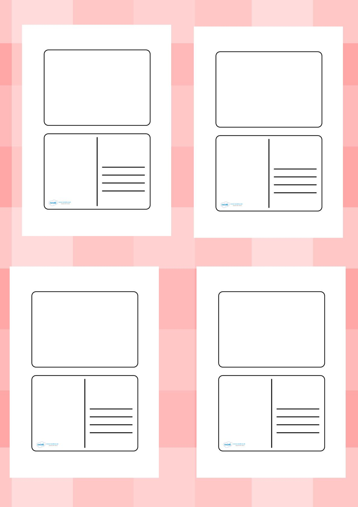 Twinkl Resources Gt Gt Blank Postcard Templates Gt Gt Printable