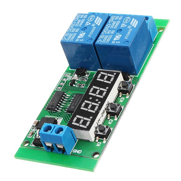 DC 12V 2CH Delay Relay Cycle Timer Switch Module 1-9999s For
