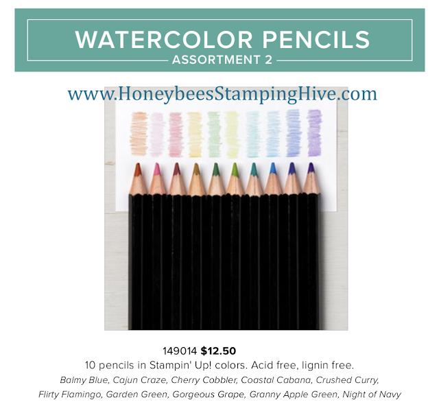 Stampin Up Watercolor Pencils Assortment 2 New 10 Colors