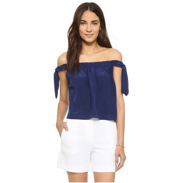 230783de8d2 Club Monaco Nadina Top (188 AUD) ❤ liked on Polyvore featuring tops, bayou  blue, club monaco, off shoulder crop top, blue top, bow crop top and blue  off ...