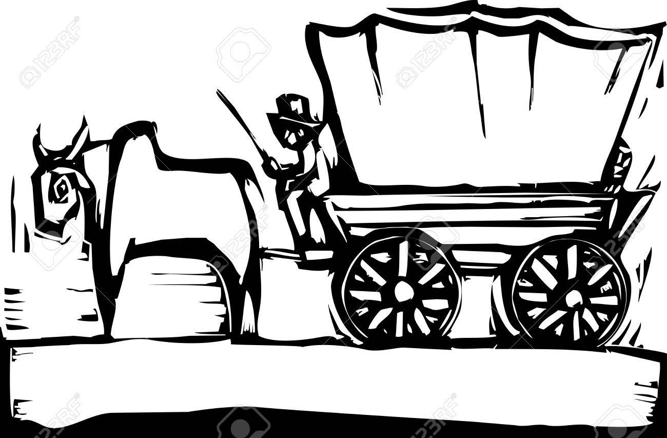 Stock Vector In 2020 Covered Wagon Cow Coloring Pages Free