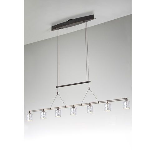 Bronze Seven-Light Linear Pendant with Hammered Silver Glass