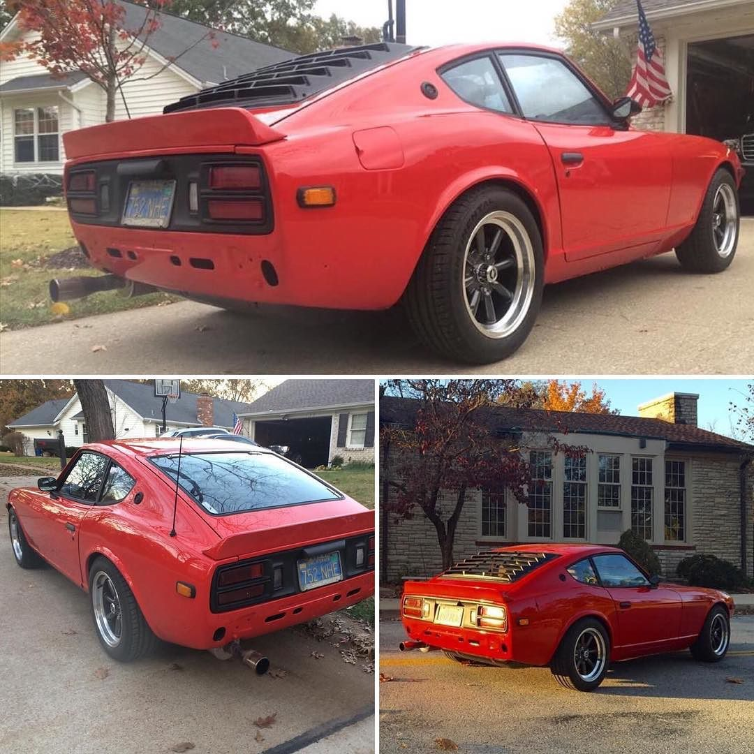 "1976 Datsun 280Z. Coated with a Viper red paint job. 2"" drop all around with Tokico springs and struts. Front and rear sway bars. To pilot the S30 the stock steering wheel has been replaced with a Grant steering wheel.  Driver = @_woost  = @_woost  Tag your friends!  #Datsun #datsun280z #datsungarage #s30 #konig #grantsteeringwheel #louvers #tokico #viper #jdm"