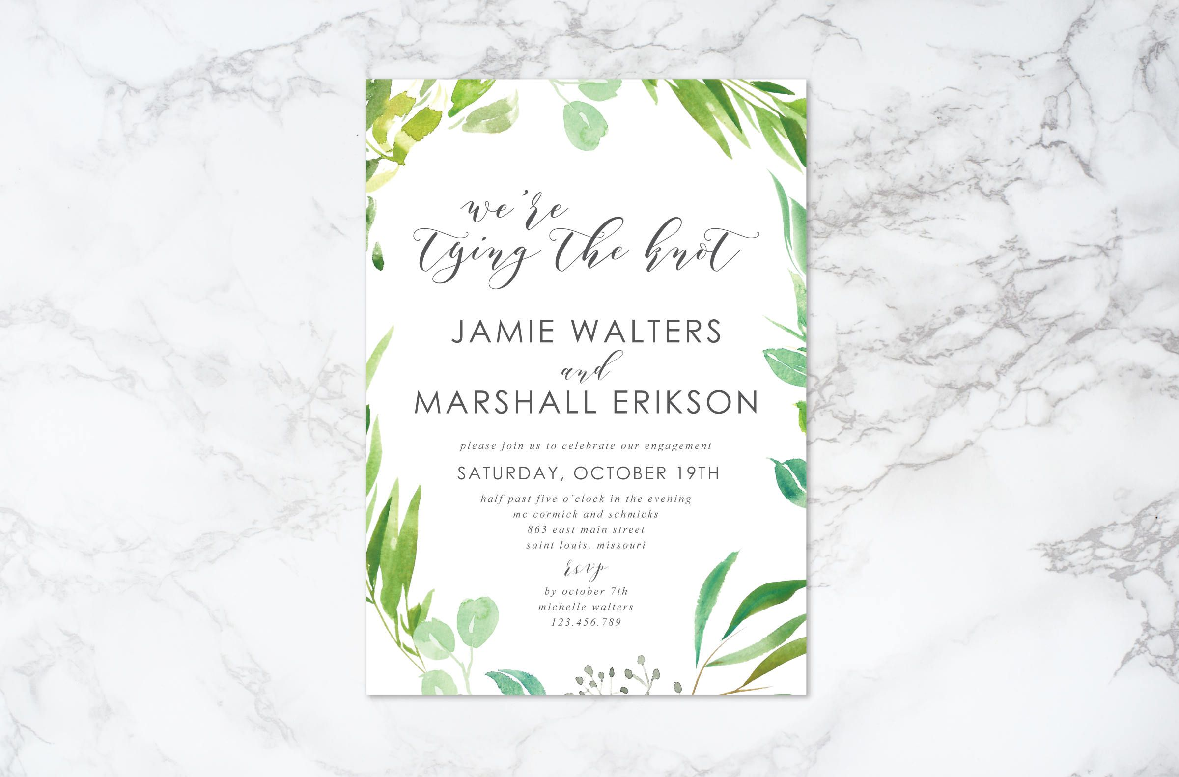Printable Watercolor Foliage And Leaves Engagement Invitation