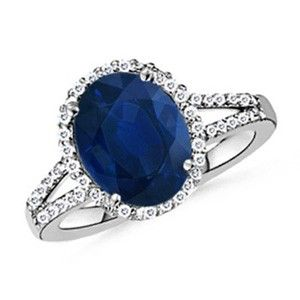 Angara Round Blue Sapphire and Diamond Halo Split Shank Ring tFuz1AgwaE