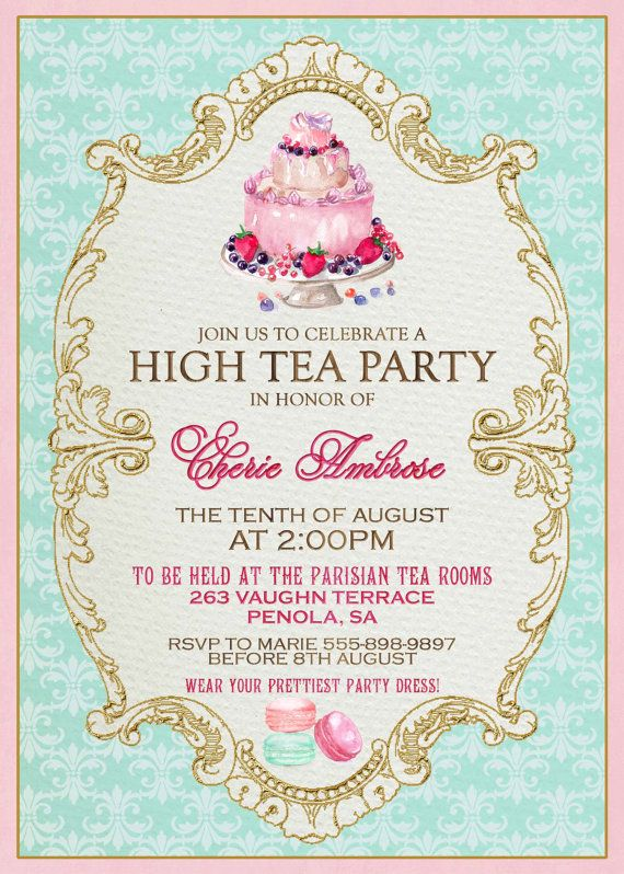 welcome farewell high tea invitation french tea party by. Black Bedroom Furniture Sets. Home Design Ideas