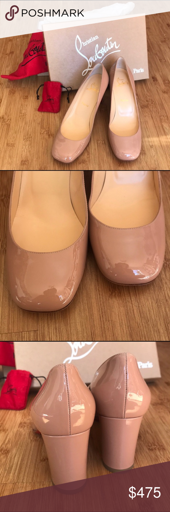 separation shoes b5d37 83dc2 Christian Louboutin Cadrilla 70 Patent in Nude These are ...