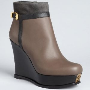 Fendi - Black And Smoke Leather Wedge Ankle Boots (20% off)