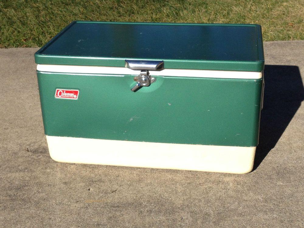 VINTAGE 1960's METAL COLEMAN COOLER ICE CHEST GREEN LOWBOY