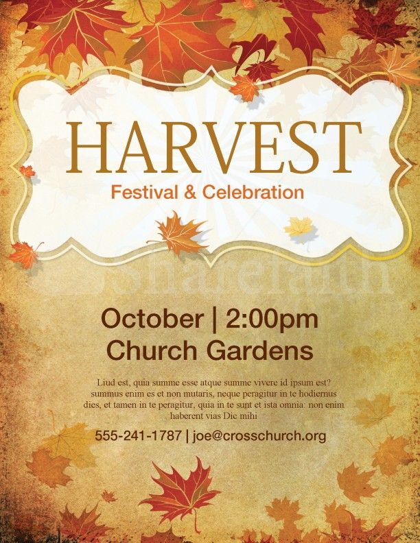 Church Harvest Festival Flyer Template  Template
