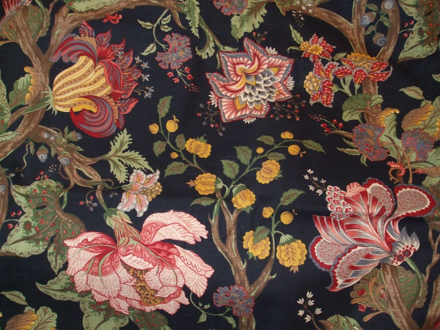 Western Textile Black Floral Fabric By Lornasfrontporch Floral Upholstery Fabric Floral Upholstery Large Scale Floral