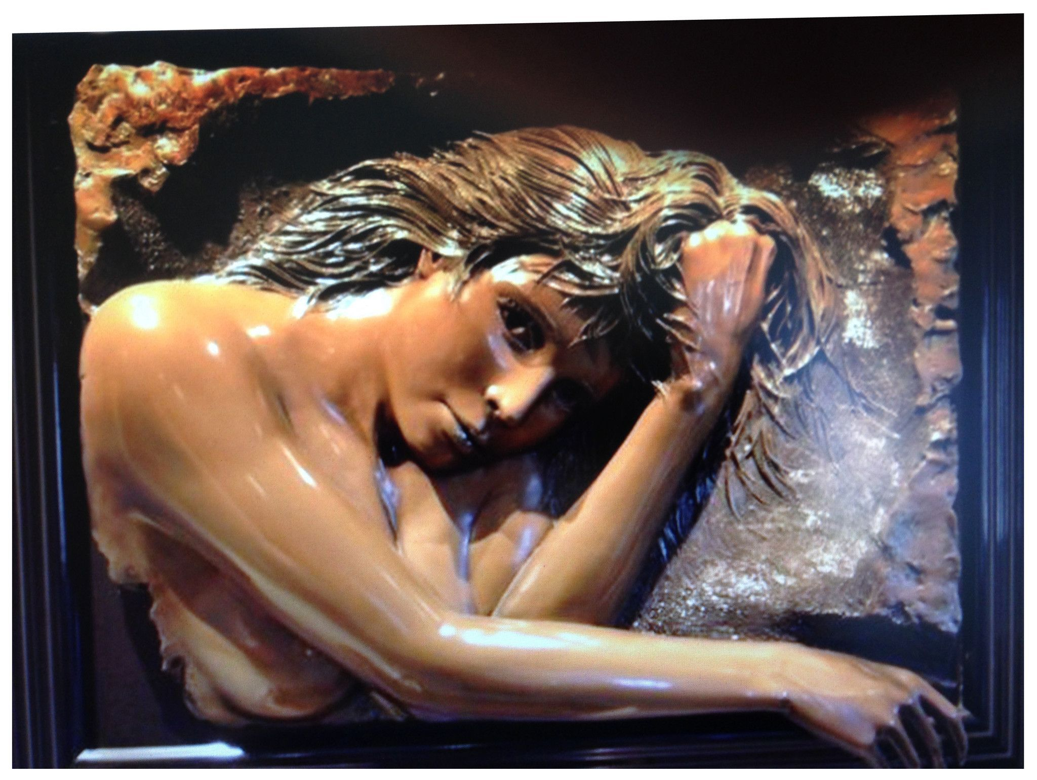 "Bill Mack (American, b. 1944), ""Daydreams"", bonded bronze relief sculpture, ca. 1988, signed"
