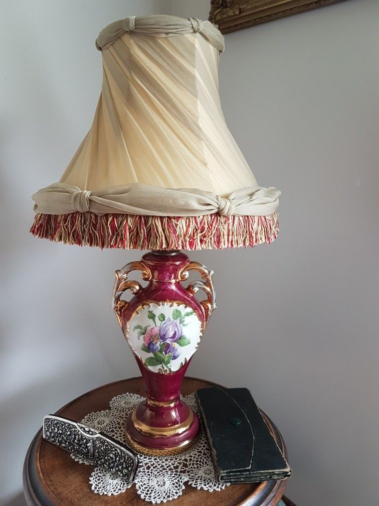 A Pair Of 1940 S Italian Style Boudoir Lamps The Original Shades Are Recovered To Suite The Bases A Yellow Silk Lining Victorian Lampshades Lamp Lamp Shades