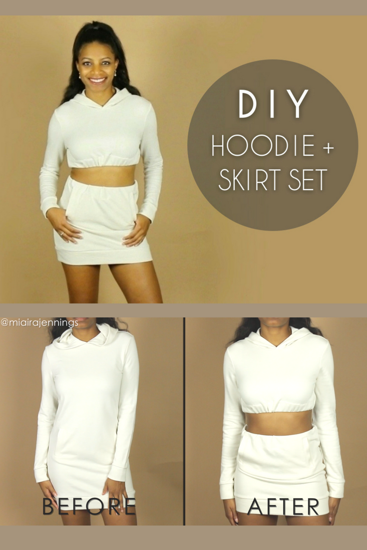 69d92742125d5 Turn an oversized hoodie or hold hoodie dress into this cute DIY crop top  and skirt matching set! ✂ 😍  diy  clothes  fashion  style  croptop  hoodie  ...