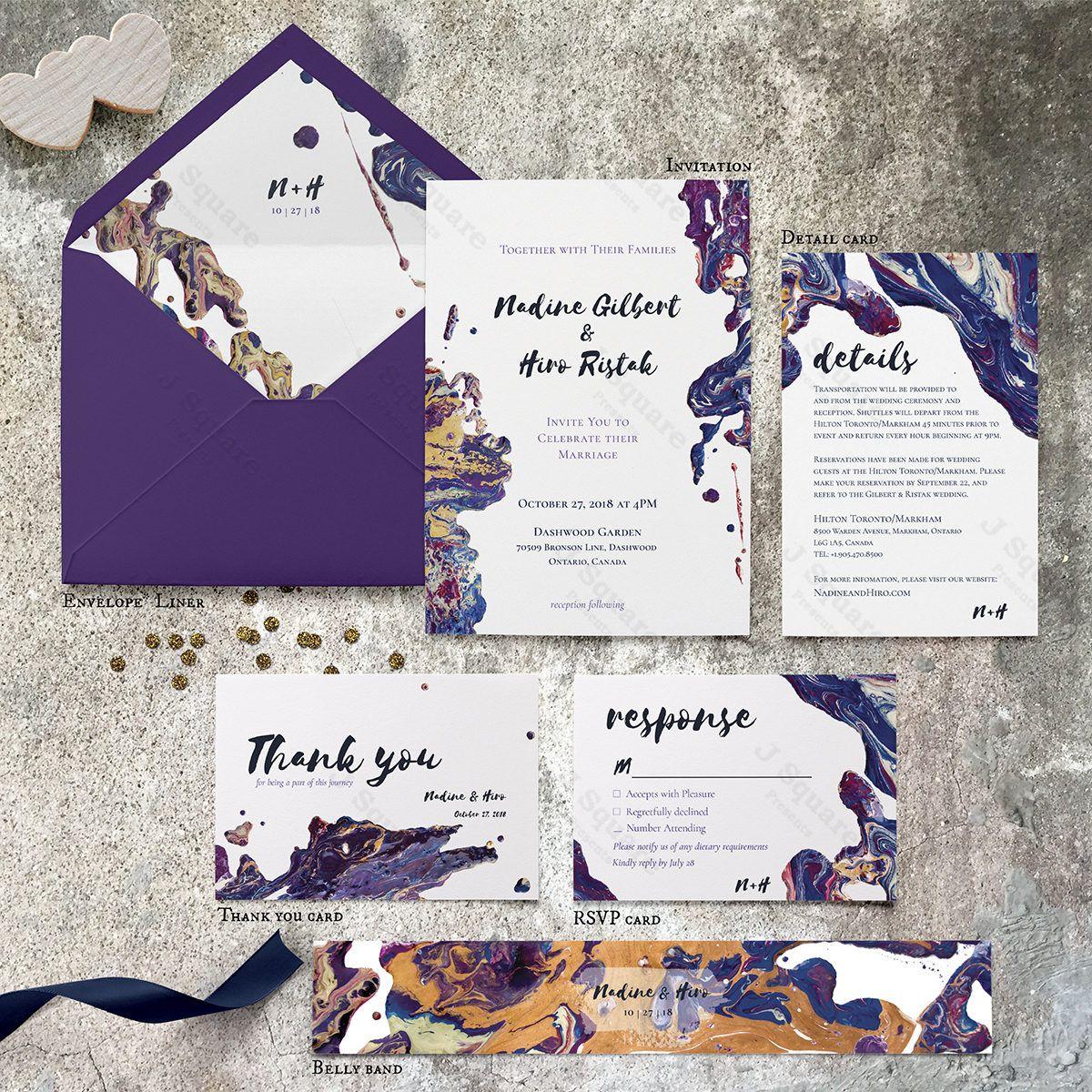 Acrylic Lux Paint Wedding Invitation Digital Wedding Suite Modern Wedding Invite Rsvp Detail Thank You Card Purple Navy Gold J2pwlp Digital Weddings Modern Wedding Invitations Printable Wedding Invitations