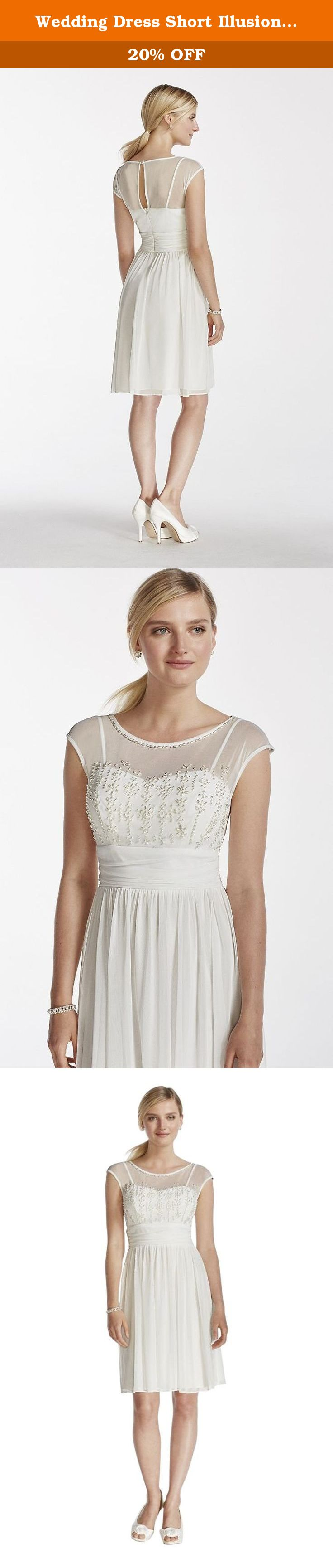 Wedding dress short illusion cap sleeve mesh with pearl beading