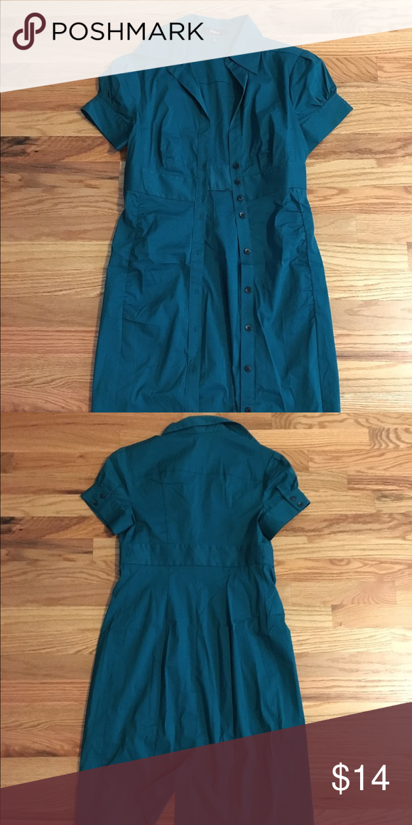 Express knee-length shirt dress, size 2, NWOT Teal green color, knee-length shirt dress by Express. Item is NWOT, but missing the accompanying belt. Size 2. Express Dresses Midi
