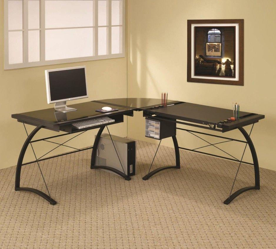 Hot Home Office Furniture Black Tempered Glass Computer Desk Plus
