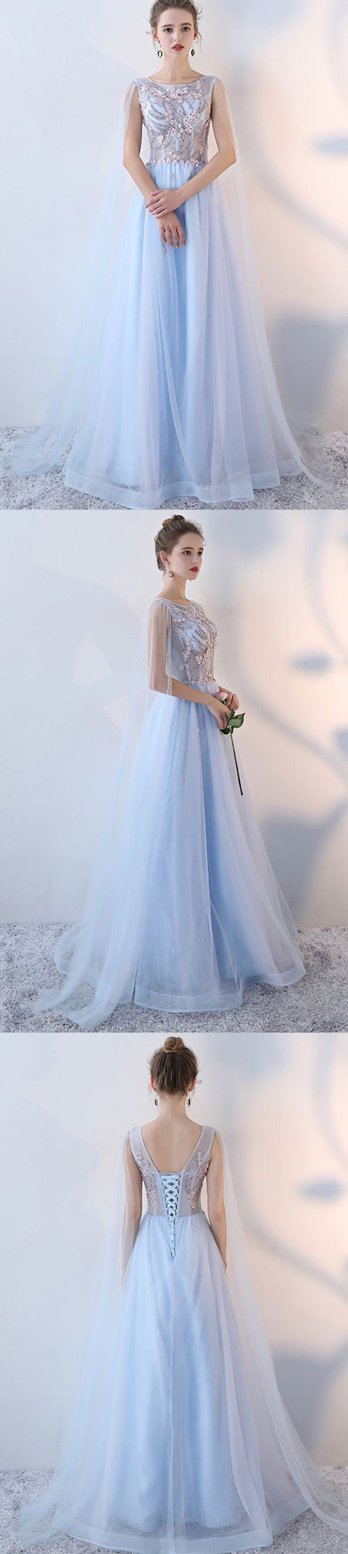 Lace up long light blue tulle prom dress with beaded flowers