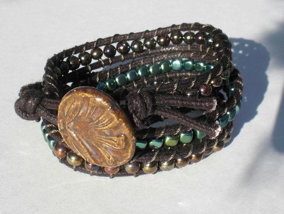 Small Triple Wrap Bracelet with Stoneware Button by Clayworksnh