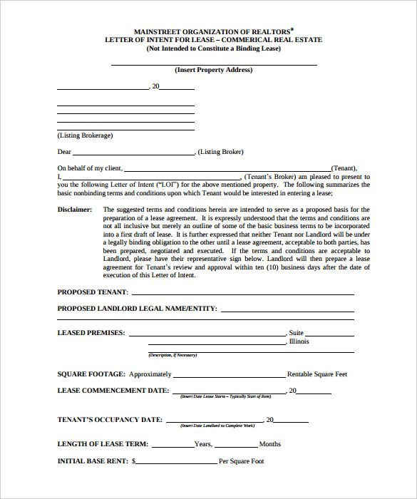 free intent letter template word pdf documents download proper - letter of intent formats