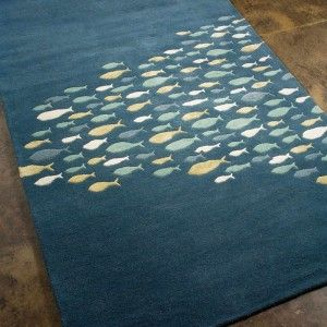 Coastal Living Hand Tufted Schooled Aegean Blue Area Rug