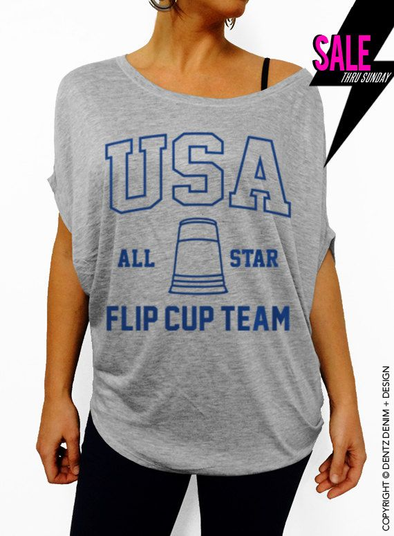 a8990ac26ac3d USA All State Flip Cup Team - Gray with Blue Off the Shoulder Slouchy Tee  USA All State Flip Cup Team - Black Muscle Tee Tank T-shirt  tank  top   summer ...