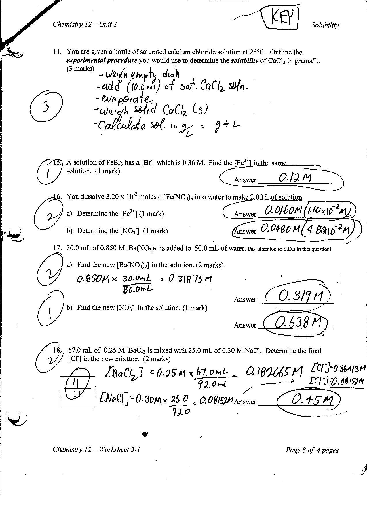 Worksheet 3 1 Solubility Concepts Key P1 P2 P3 P4