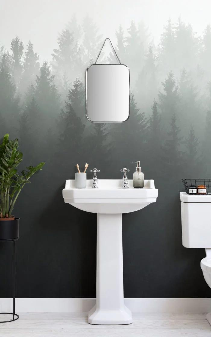 Deep Green Ombre Forest Wallpaper Mural Murals Wallpaper Small Bathroom Wallpaper Small Toilet Decor Wallpaper Toilet