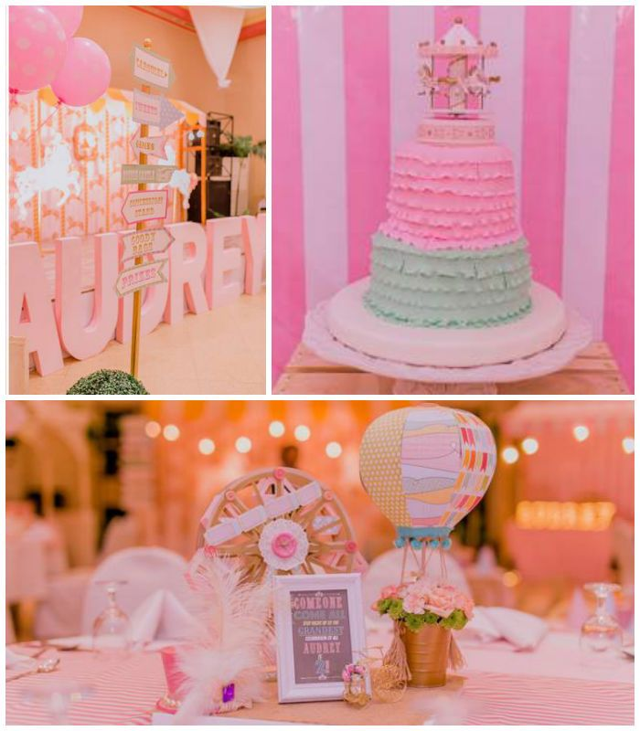 Pastel Vintage Carnival Themed Birthday Party Via Karas Ideas KarasPartyIdeas Printables Cake