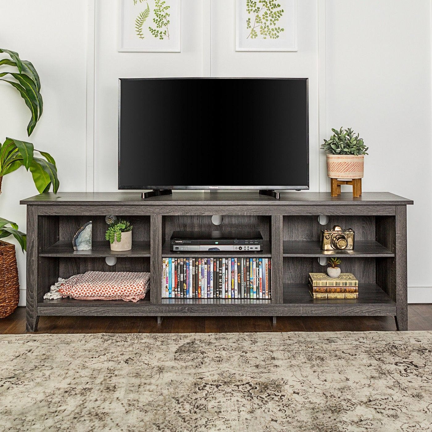 Wood Media Storage Console Tv Stand For Tvs Up To 80 Charcoal Saracina Home Tv Stand Furniture Tv Stand Wood Tv Stand Decor