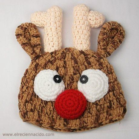 Gorro para bebé de crochet Reno Navidad. Divertido gorro hecho a mano en  crochet con forma de reno para tu bebé o recién nacido. 3d41baf1381