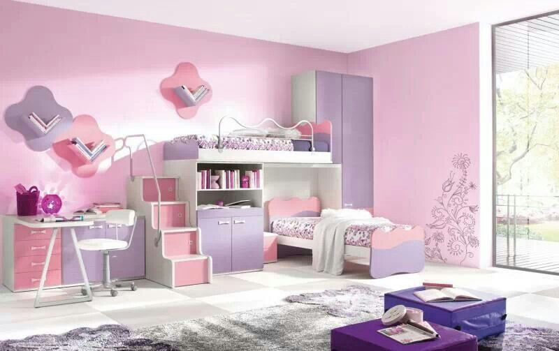 Pink and lilac girl bedroom | Modern kids bedroom, Girl ...
