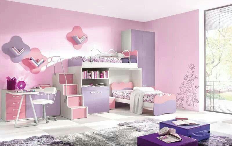 Pink And Lilac Girl Bedroom Girl Bedroom Decor Modern Kids