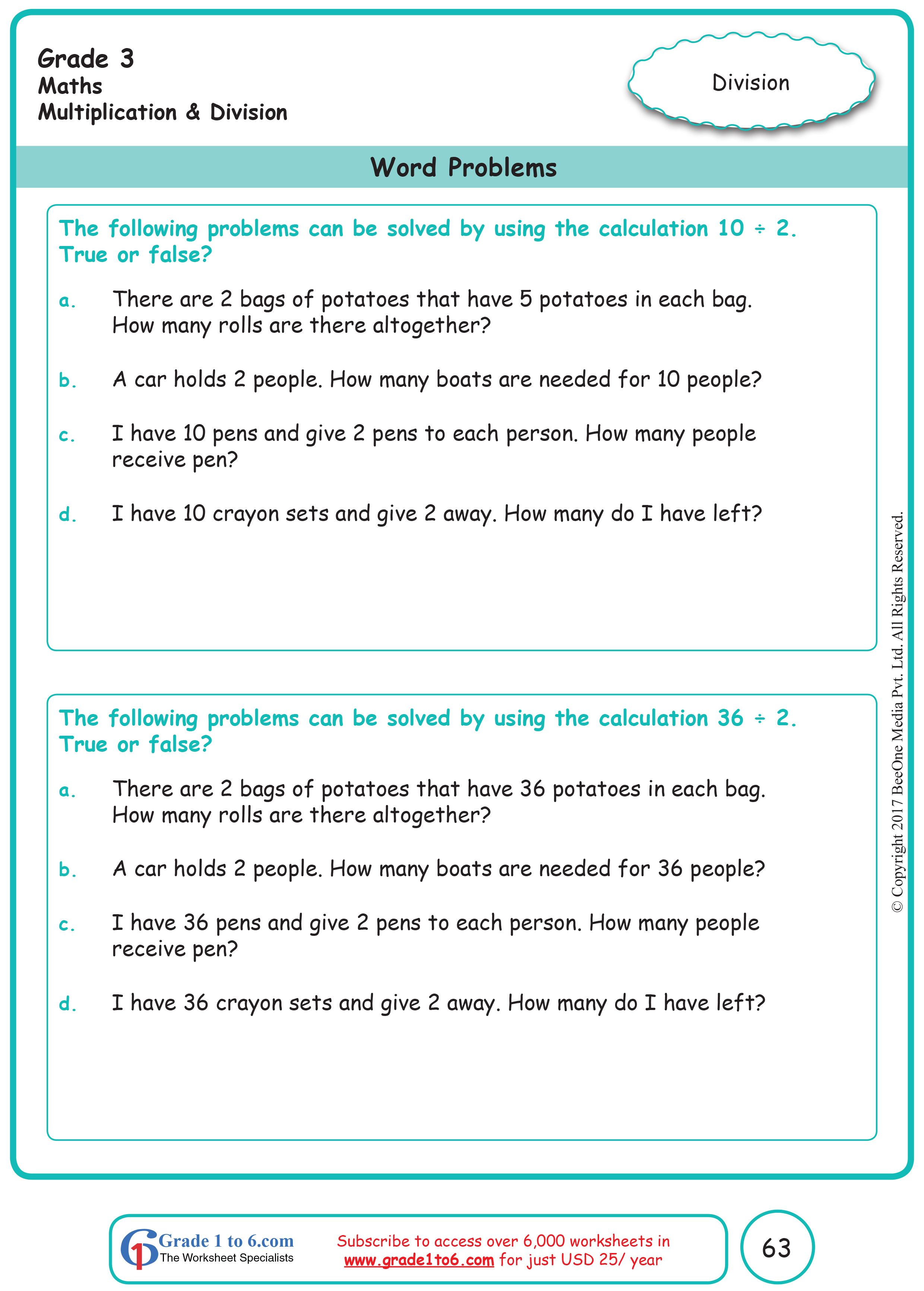 Word Problems in Multiplication \u0026 Division Grade 3 Math   Free math  worksheets [ 3464 x 2480 Pixel ]