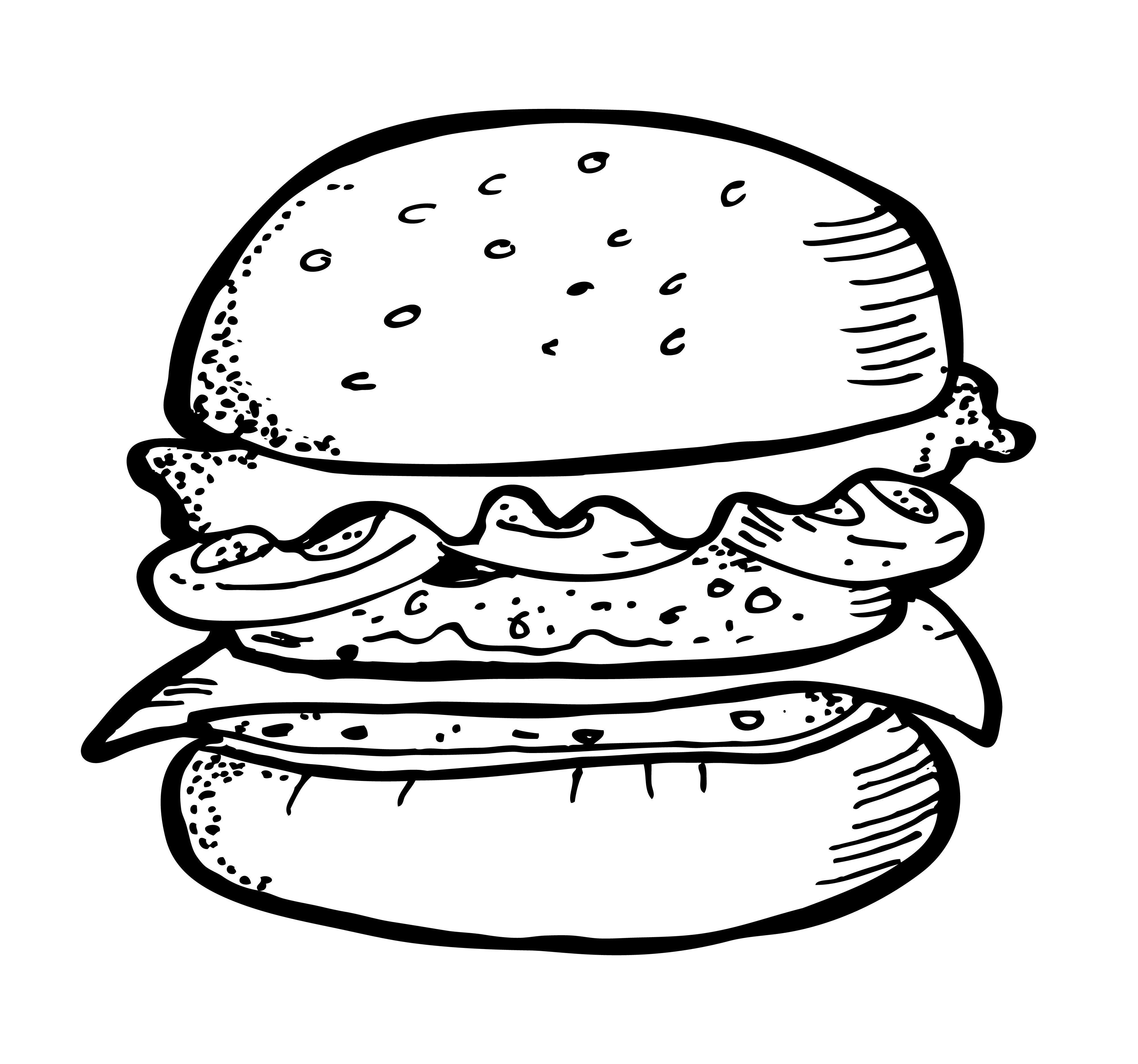 Burger And Fries Drawing Burger And Fries Drawing Delux