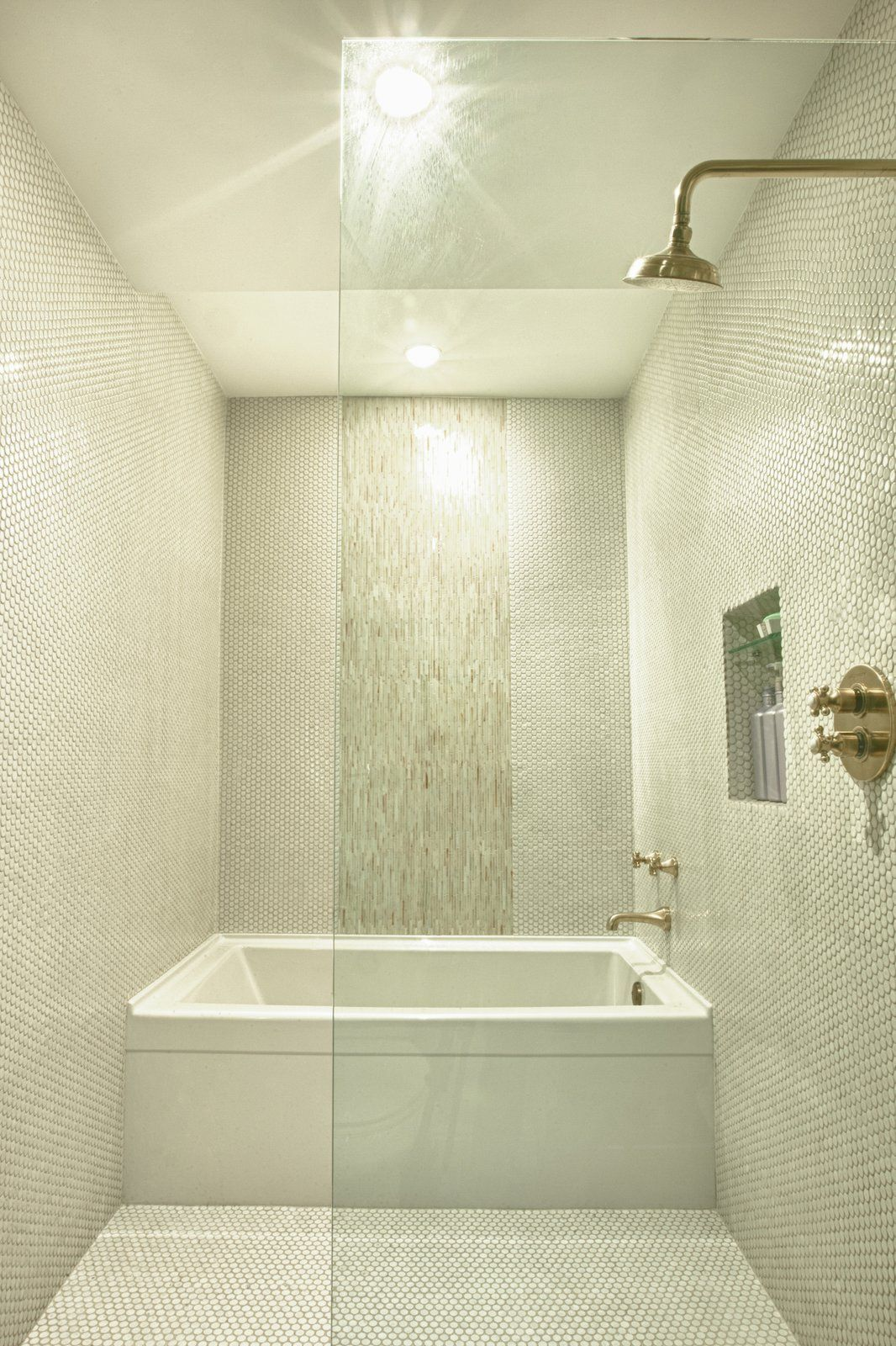 Modern Home With Bath Room Ceramic Tile Floor Alcove Tub Open Shower Ceramic Tile Wall And Ceiling Ligh Bathroom Interior Small Wet Room Wet Room Bathroom