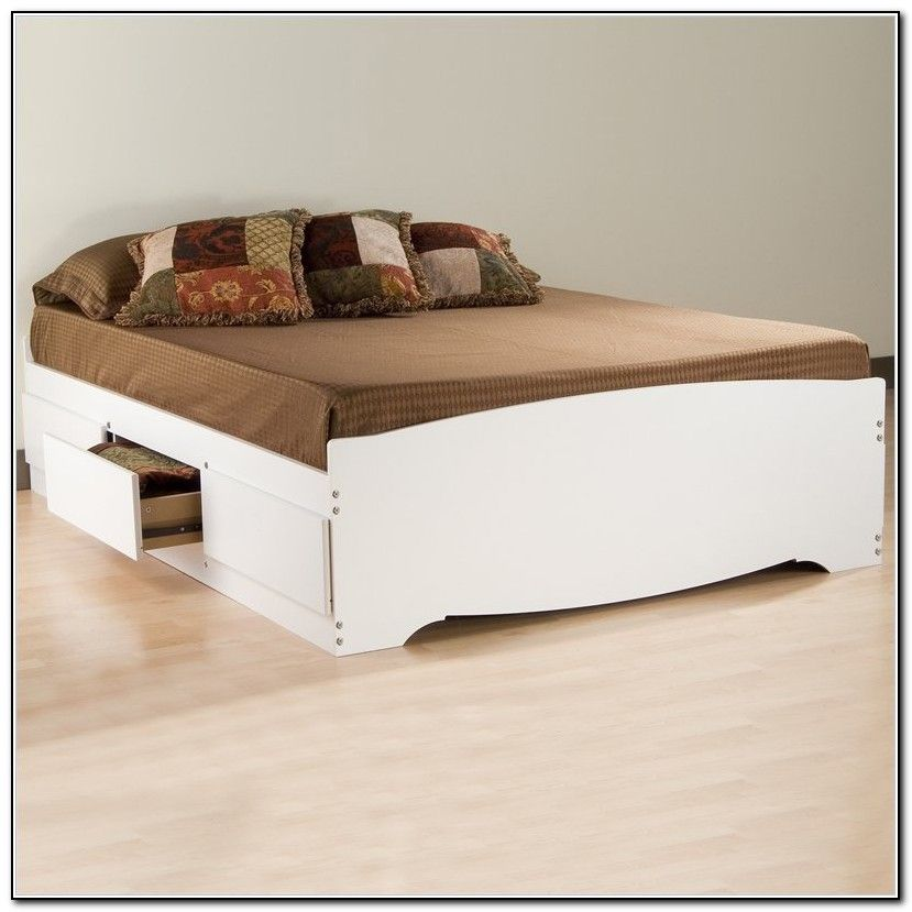 Image of: Pretty Queen Size Platform Bed with Storage