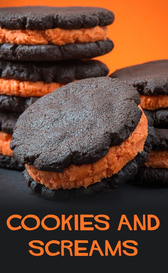 A little orange food coloring in the filling turns any cookies into Halloween spectacular.