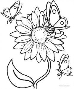 Sunflower Coloring Pages for Kids | Butterfly coloring page ...