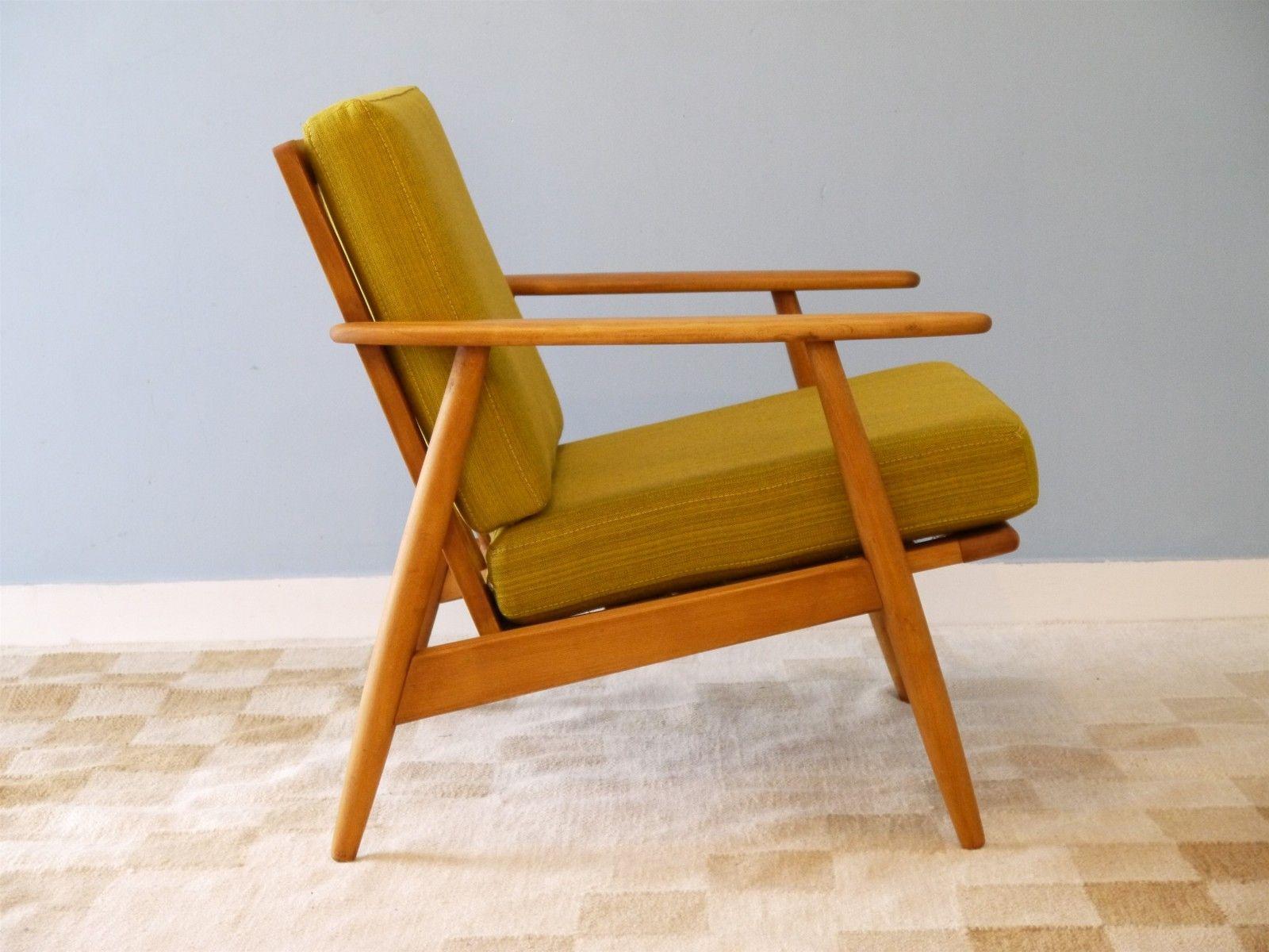 fauteuil jaune moutarde en htre danemark 1960s - Fauteuil Scandinave Moutarde