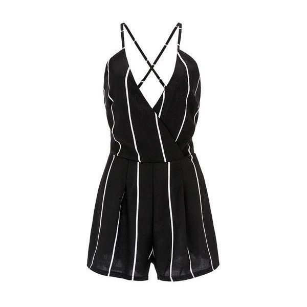 f35c659d8061 Rotita V Neck Open Back Stripe Print Black Romper ( 22) ❤ liked on Polyvore  featuring jumpsuits