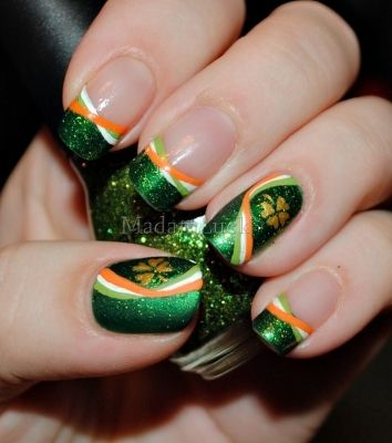 st patrick's day nail designs | ... your nails for St. Patrick's Day with this sparkly shamrock design