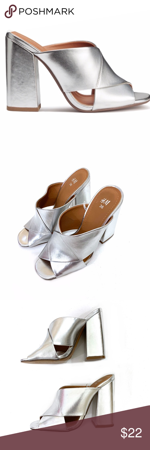 Silver Mules Heels Silver Heels H M Shoes