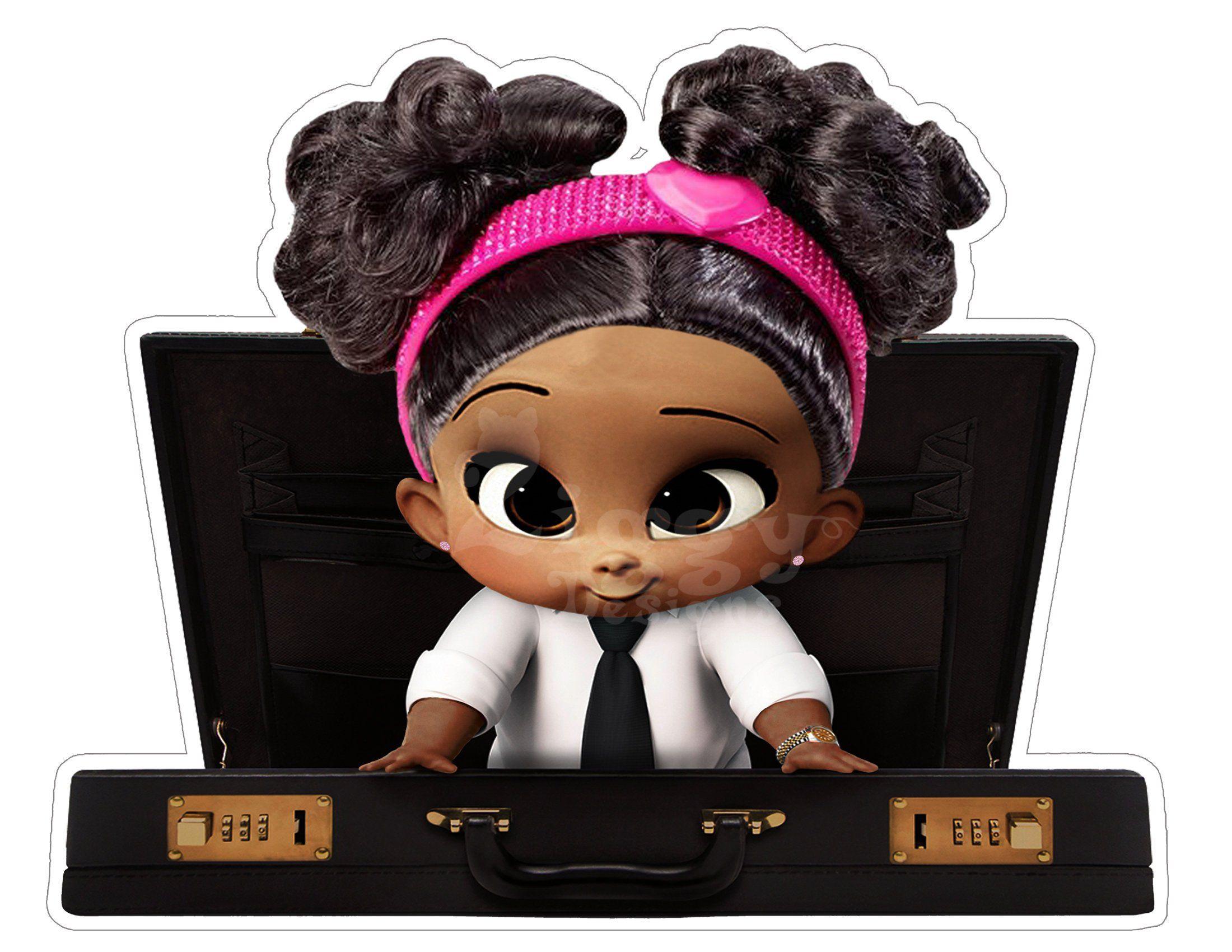 Boss Baby Girl African American Large Digital Centerpiece