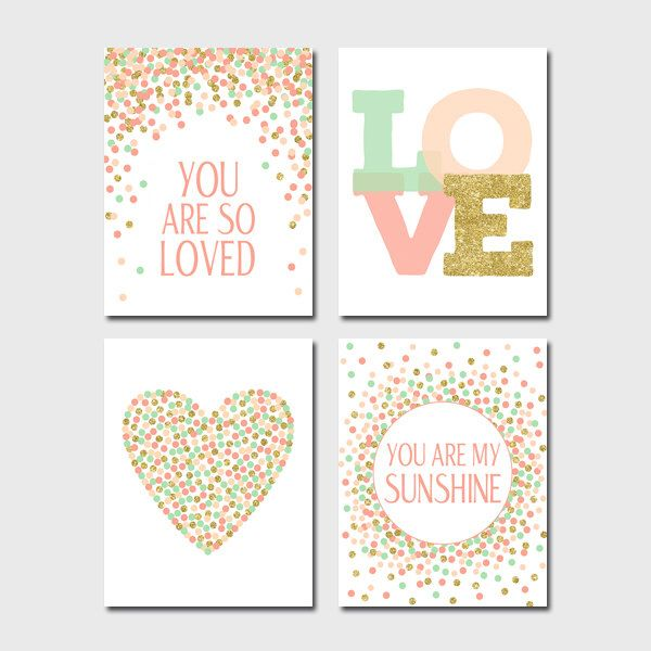 Pink Mint And Gold Nursery: Set Of Prints You Are So Loved Print You Are My Sunshine