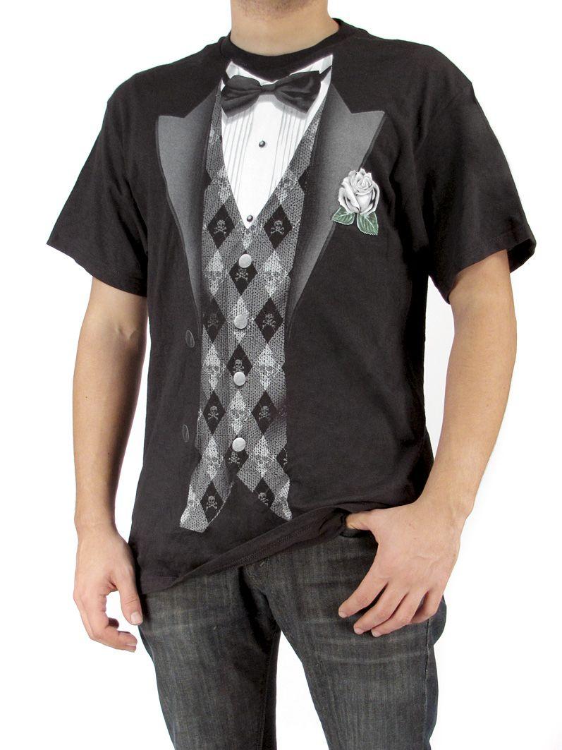 ec4deb2294 skull undertaker tuxedo tshirt | Mens Tuxedo Skull Argyle Vest Rose Corsage  Punk Nerd Geek Black White .
