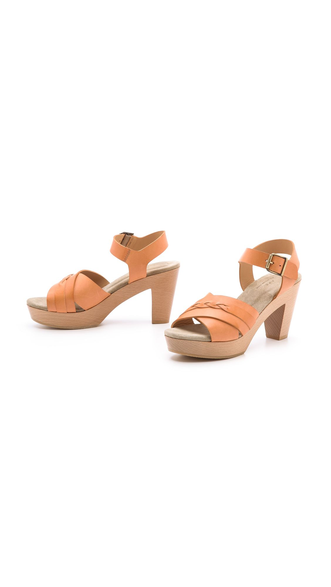 a277485858b4 A.p.c. Braided Mid Heel Sandals in Orange (Beige Natural)