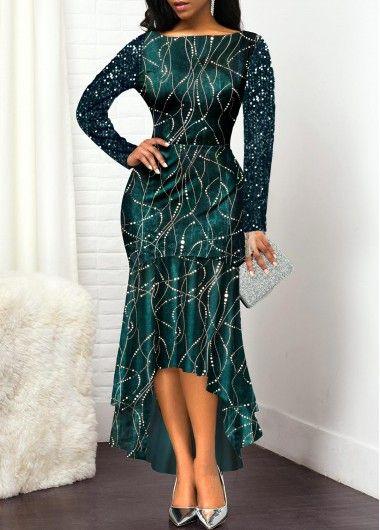 High Low Boat Neck Sequin Embellished Dress   Rotita.com – USD $36.39